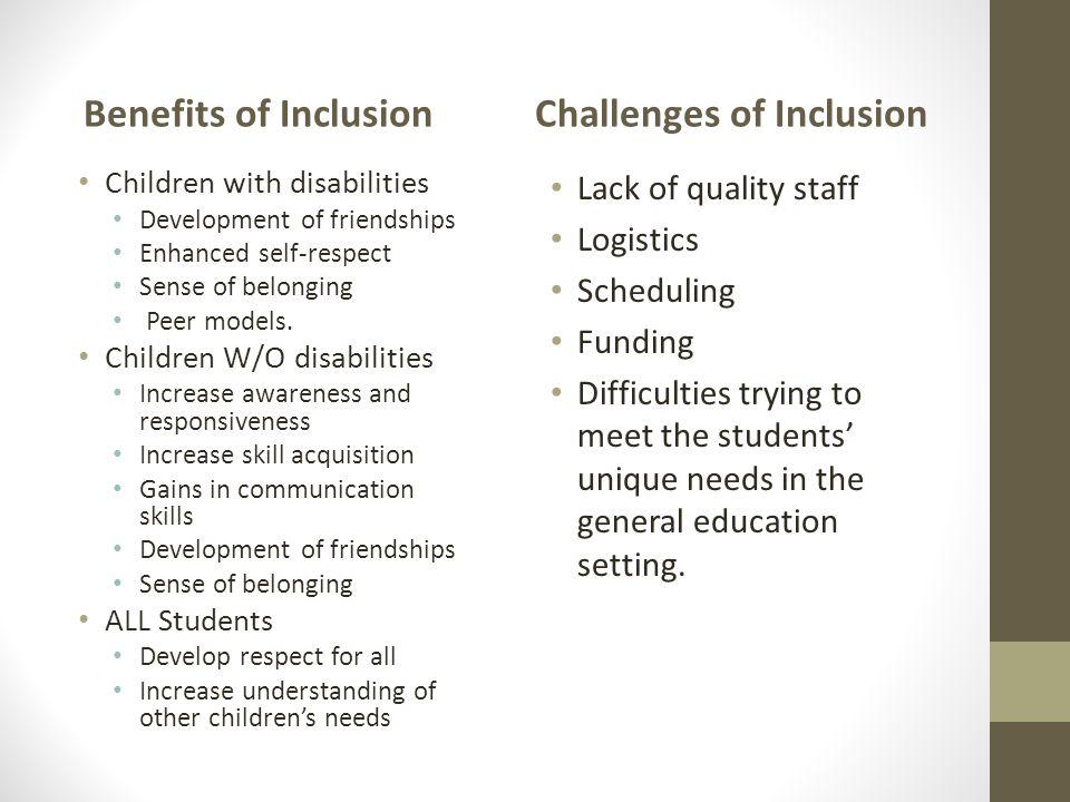 Benefits of Inclusion Children with disabilities Development of friendships Enhanced self-respect Sense of belonging Peer models. Children W/O disabil