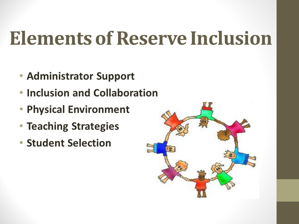 Elements of Reserve Inclusion Administrator Support Inclusion and Collaboration Physical Environment Teaching Strategies Student Selection