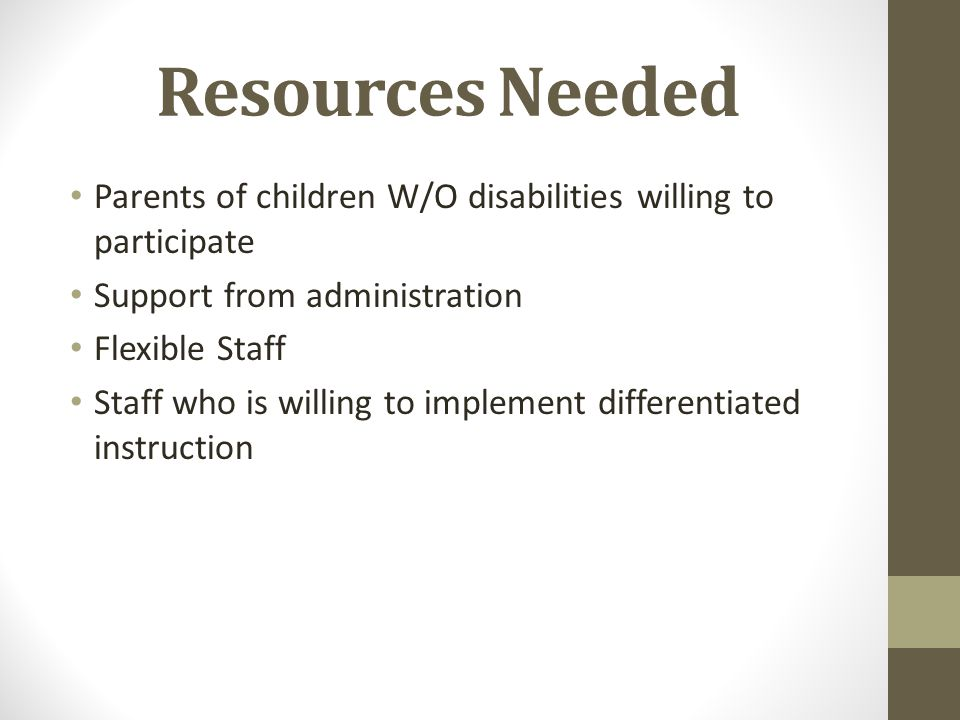 Resources Needed Parents of children W/O disabilities willing to participate Support from administration Flexible Staff Staff who is willing to implem