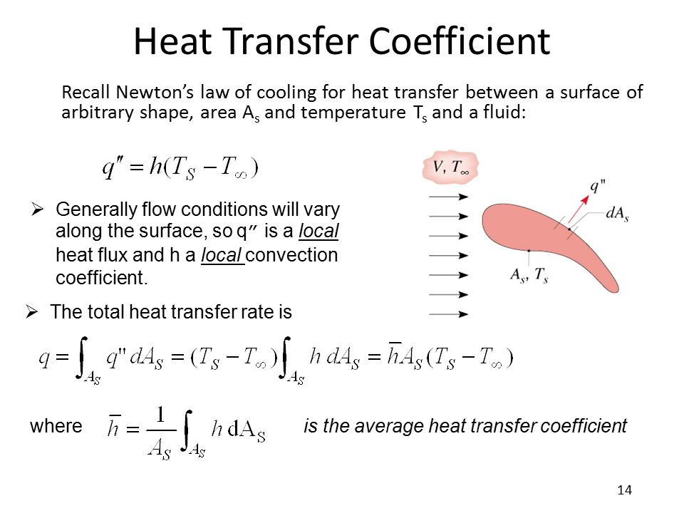 Heat Transfer Coefficient Recall Newton's law of cooling for heat transfer between a surface of arbitrary shape, area A s and temperature T s and a fl