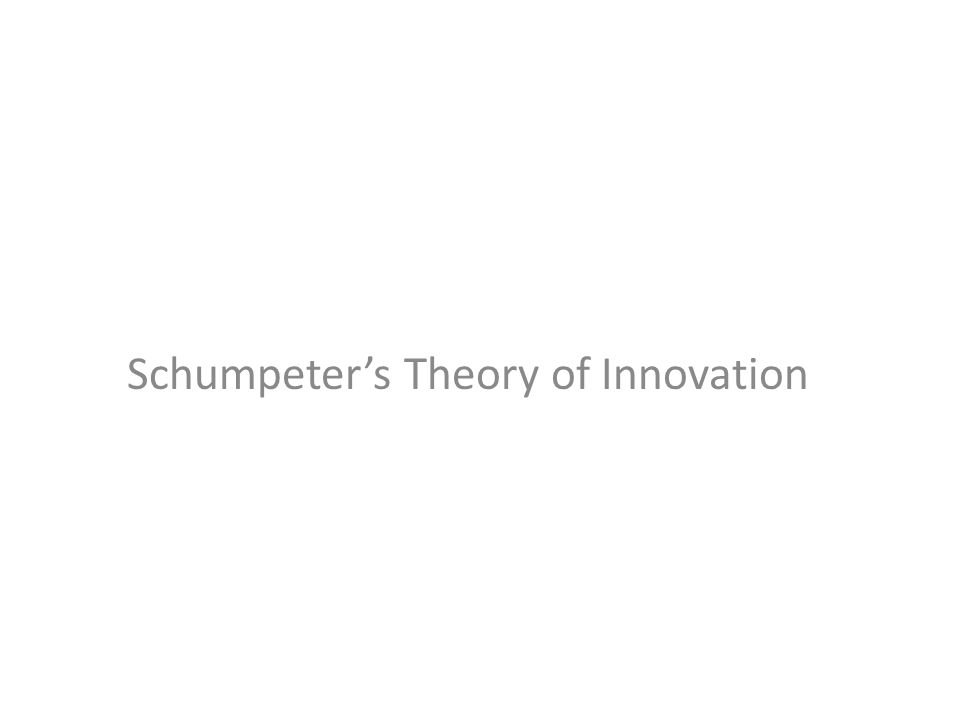 Schumpeter's Theory of Innovation