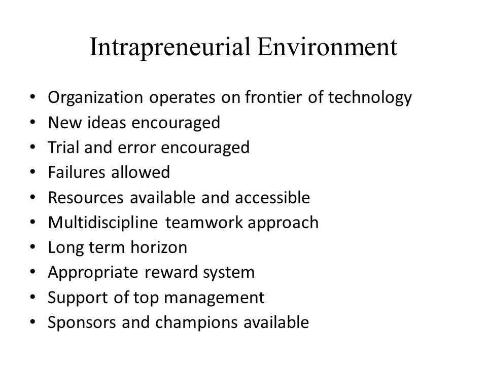 Intrapreneurial Environment Organization operates on frontier of technology New ideas encouraged Trial and error encouraged Failures allowed Resources