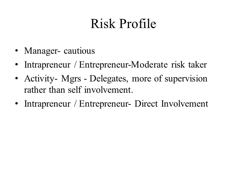 Risk Profile Manager- cautious Intrapreneur / Entrepreneur-Moderate risk taker Activity- Mgrs - Delegates, more of supervision rather than self involv