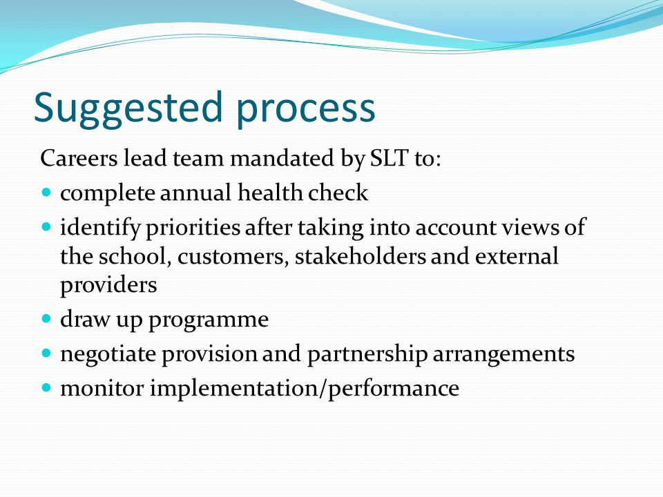 Suggested process Careers lead team mandated by SLT to: complete annual health check identify priorities after taking into account views of the school