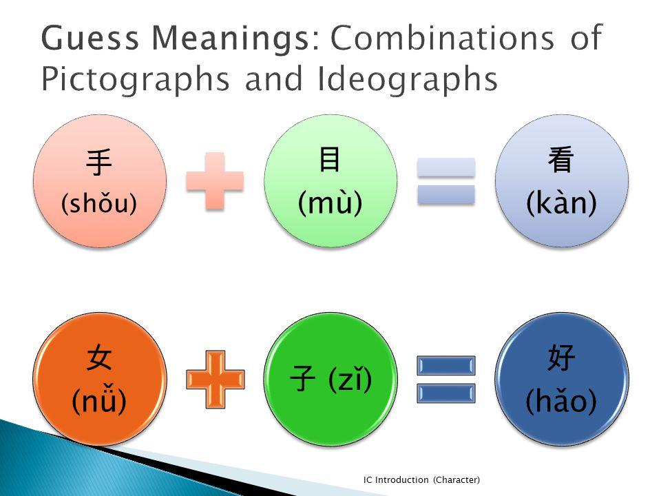 手 (shǒu) 目 (mù) 看 (kàn) IC Introduction (Character) 女 (nǚ) 子 (zǐ) 好 (hǎo)