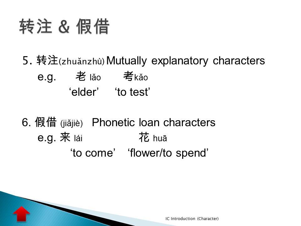 5. 转注 (zhuǎnzh ù ) Mutually explanatory characters e.g. 老 lǎo 考 kǎo 'elder' 'to test' 6. 假借 (jiǎjiè) Phonetic loan characters e.g. 来 lái 花 huā 'to com