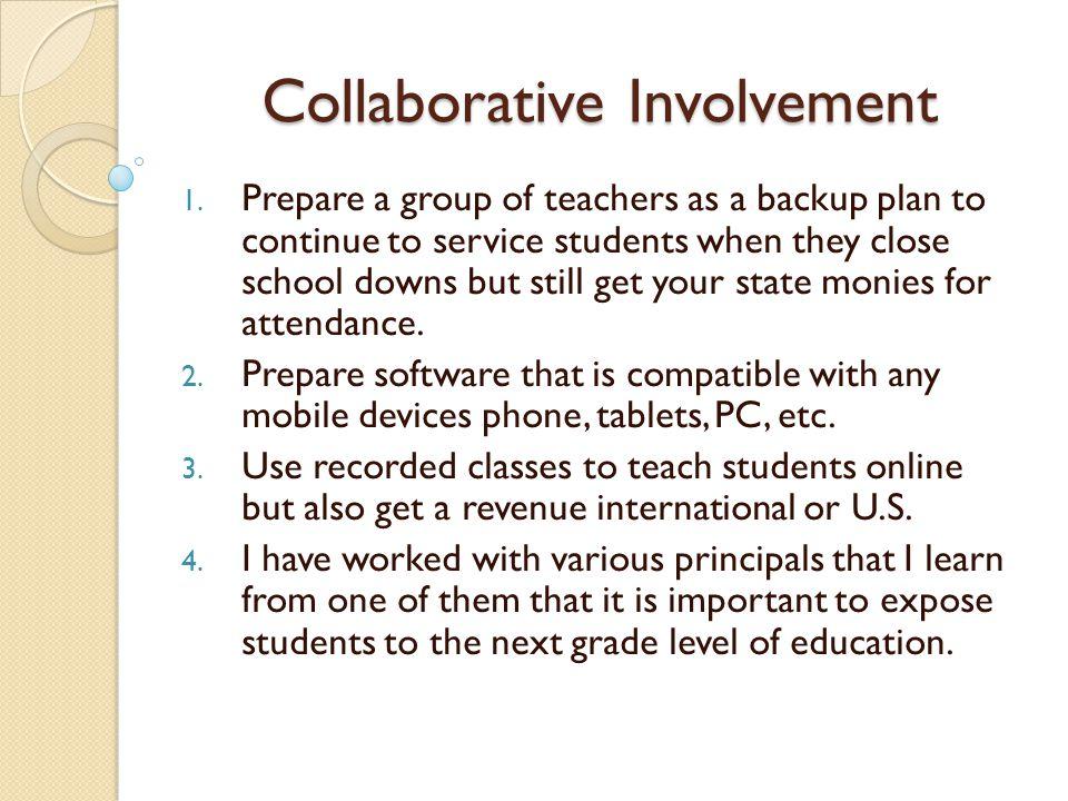Collaborative Involvement Dear Dr.Carl A.
