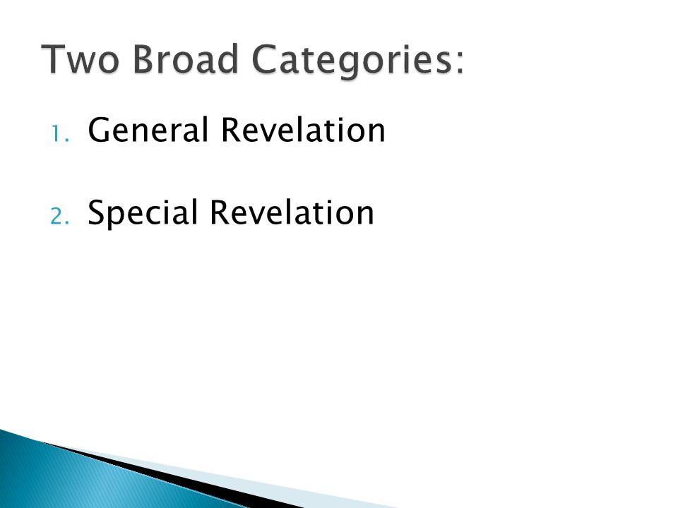 1. General Revelation 2. Special Revelation