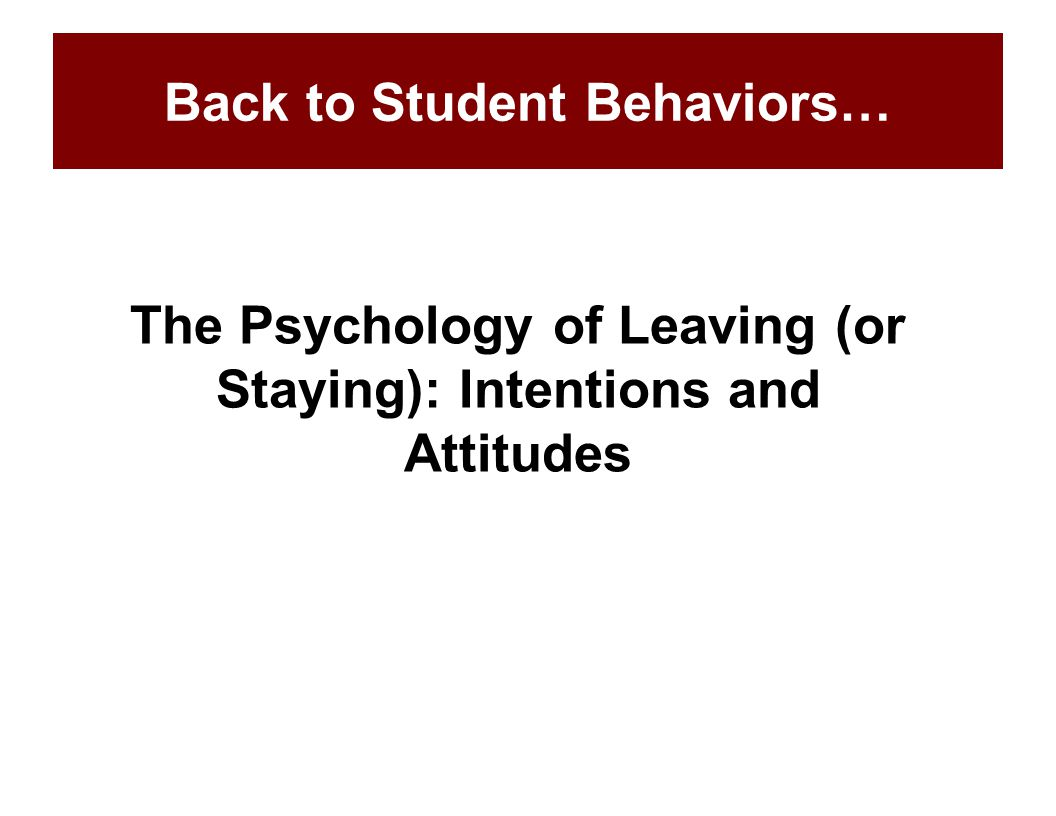 The Psychology of Leaving (or Staying): Intentions and Attitudes Back to Student Behaviors…