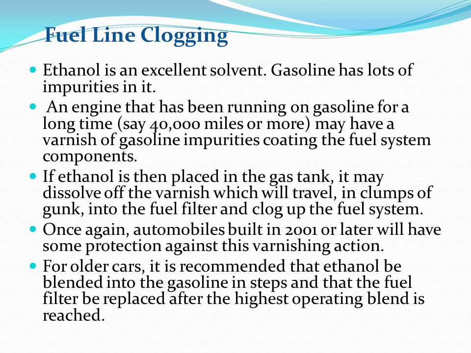 Ethanol is an excellent solvent.Gasoline has lots of impurities in it.