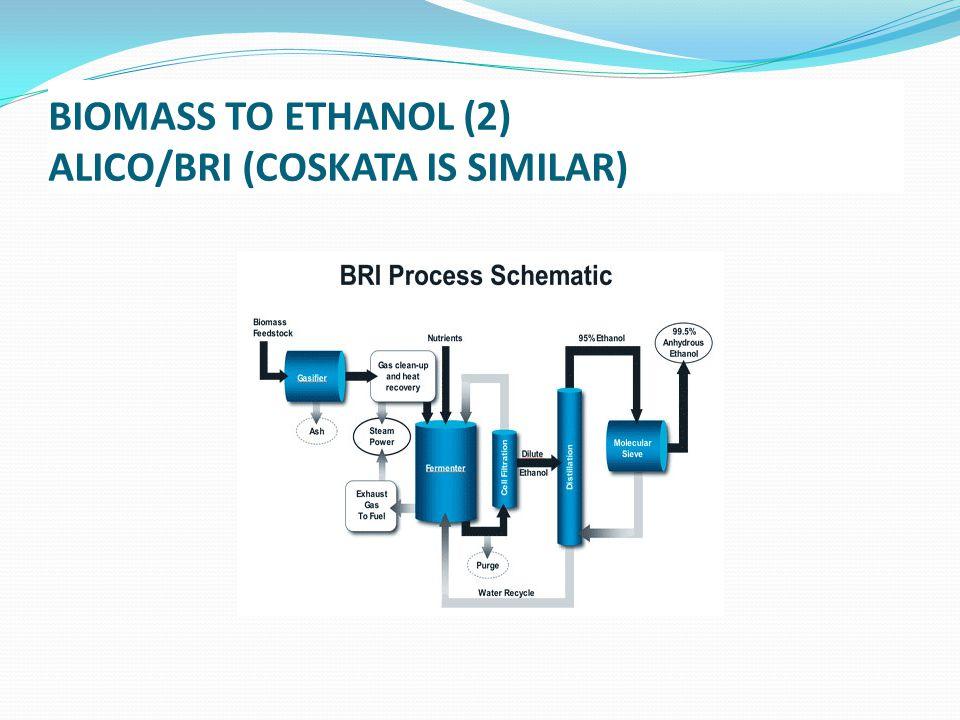 BIOMASS TO ETHANOL (2) ALICO/BRI (COSKATA IS SIMILAR)