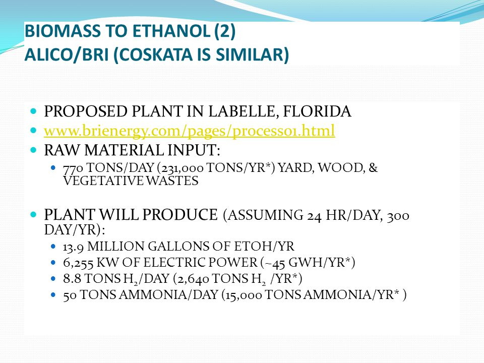 PROPOSED PLANT IN LABELLE, FLORIDA www.brienergy.com/pages/process01.html RAW MATERIAL INPUT: 770 TONS/DAY (231,000 TONS/YR*) YARD, WOOD, & VEGETATIVE WASTES PLANT WILL PRODUCE (ASSUMING 24 HR/DAY, 300 DAY/YR): 13.9 MILLION GALLONS OF ETOH/YR 6,255 KW OF ELECTRIC POWER (~45 GWH/YR*) 8.8 TONS H 2 /DAY (2,640 TONS H 2 /YR*) 50 TONS AMMONIA/DAY (15,000 TONS AMMONIA/YR* )