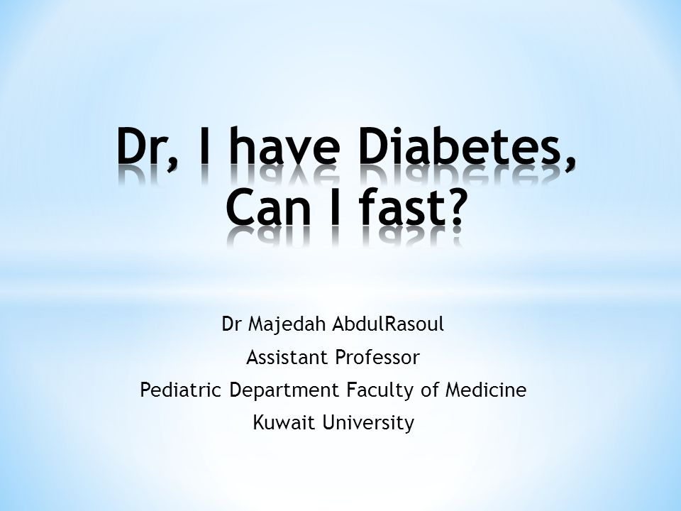 A study on 20 patients on MDI mean age of 12.4 yrs (fasting), 10.5 yr (not fasting) Fasting was for 12.5 hours Change in weight, HbA1c, lipid profile before anf after Ramadan Results: No statistical difference in HbA1c (9,2 &9.4% vs 9.13 &10%, p=0.9), weight or fasting lipids No patient called the helpline and none had intercurrent illness or ketosis AlAlwan etal 2010; Int J Diabetes Mellitus
