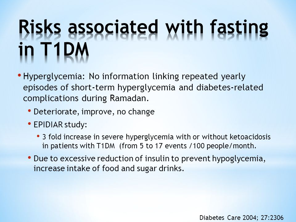 Hyperglycemia: No information linking repeated yearly episodes of short-term hyperglycemia and diabetes-related complications during Ramadan. Deterior
