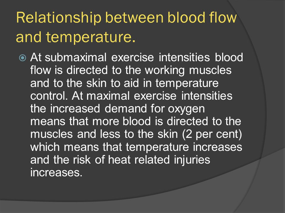Relationship between blood flow and temperature.  At submaximal exercise intensities blood flow is directed to the working muscles and to the skin to