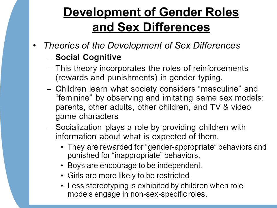 Development of Gender Roles and Sex Differences Theories of the Development of Sex Differences –Social Cognitive –This theory incorporates the roles o