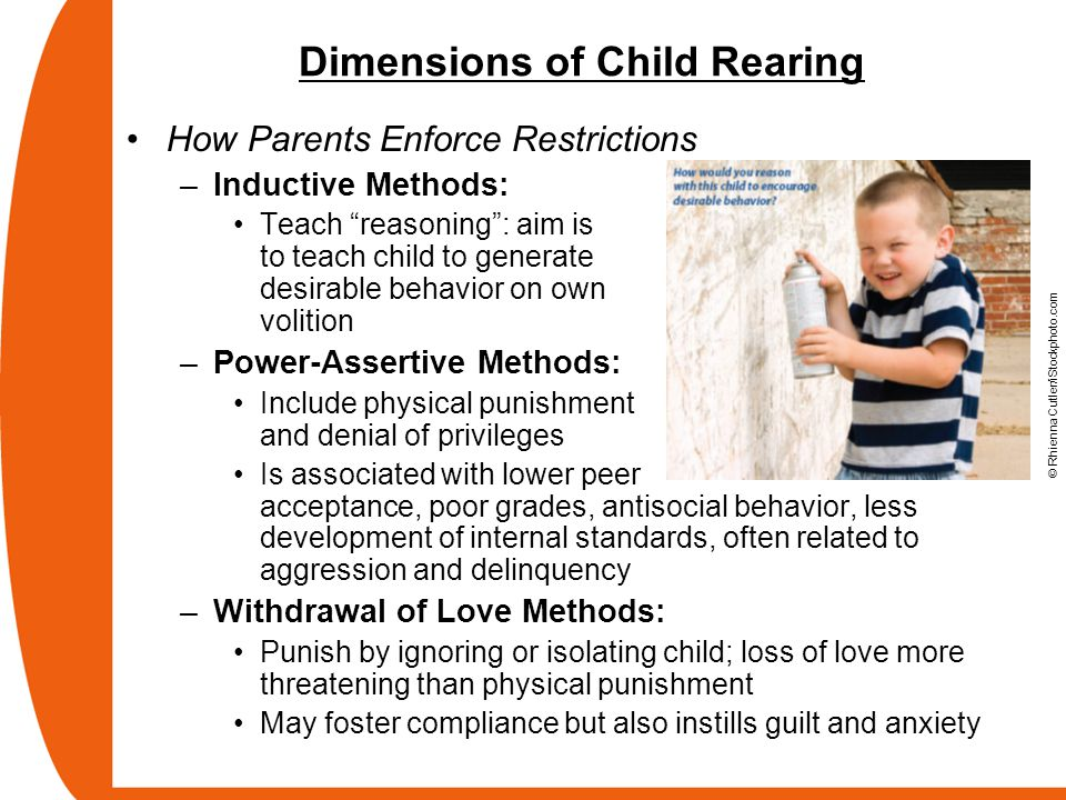 """Dimensions of Child Rearing How Parents Enforce Restrictions –Inductive Methods: Teach """"reasoning"""": aim is to teach child to generate desirable behavi"""