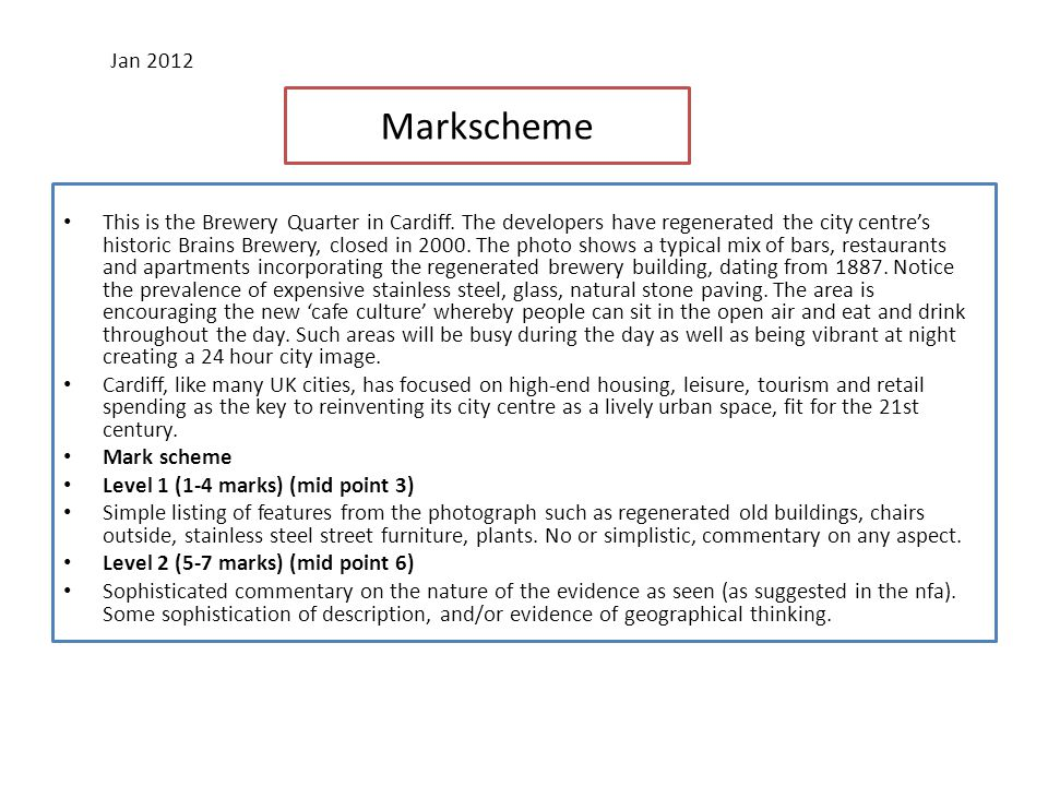 Outline the process of counter-urbanisation and describe its effects. (8 marks) Jan 2012