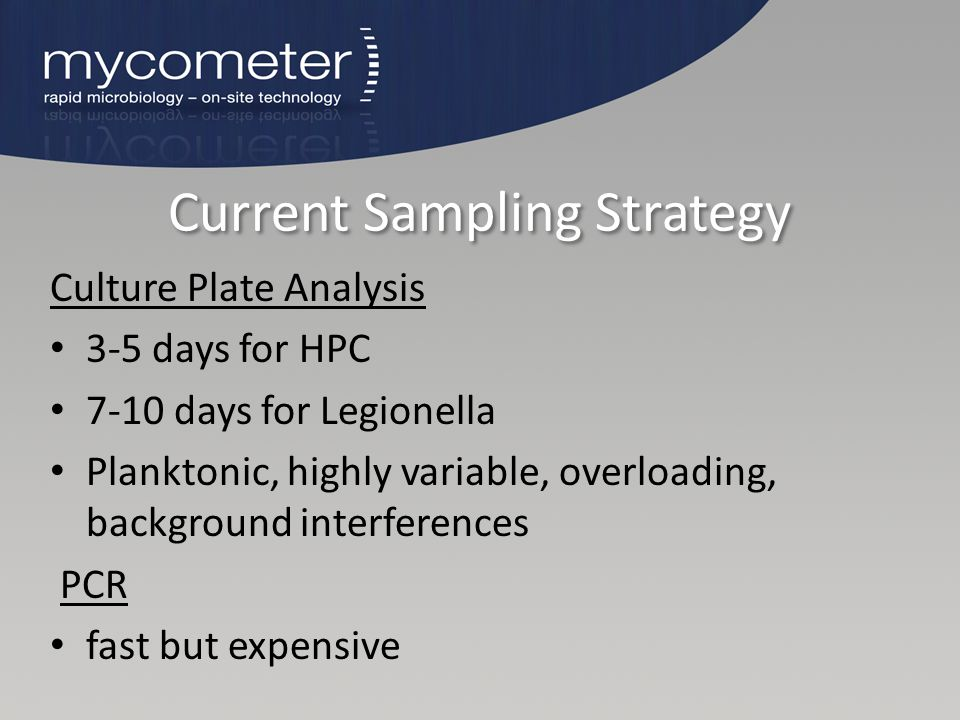 Current Sampling Strategy Culture Plate Analysis 3-5 days for HPC 7-10 days for Legionella Planktonic, highly variable, overloading, background interf