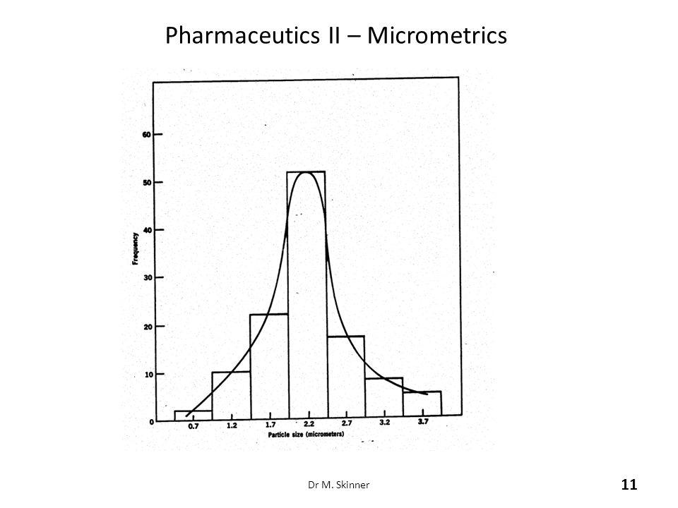 Pharmaceutics II – Micrometrics Dr M. Skinner 11
