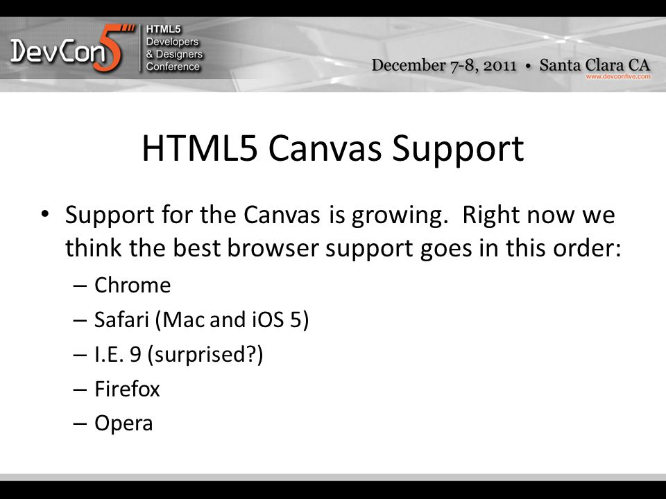 HTML5 Canvas Support Support for the Canvas is growing.