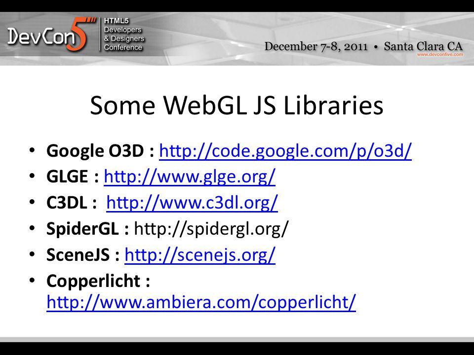 Some WebGL JS Libraries Google O3D : http://code.google.com/p/o3d/http://code.google.com/p/o3d/ GLGE : http://www.glge.org/http://www.glge.org/ C3DL : http://www.c3dl.org/http://www.c3dl.org/ SpiderGL : http://spidergl.org/ SceneJS : http://scenejs.org/http://scenejs.org/ Copperlicht : http://www.ambiera.com/copperlicht/ http://www.ambiera.com/copperlicht/