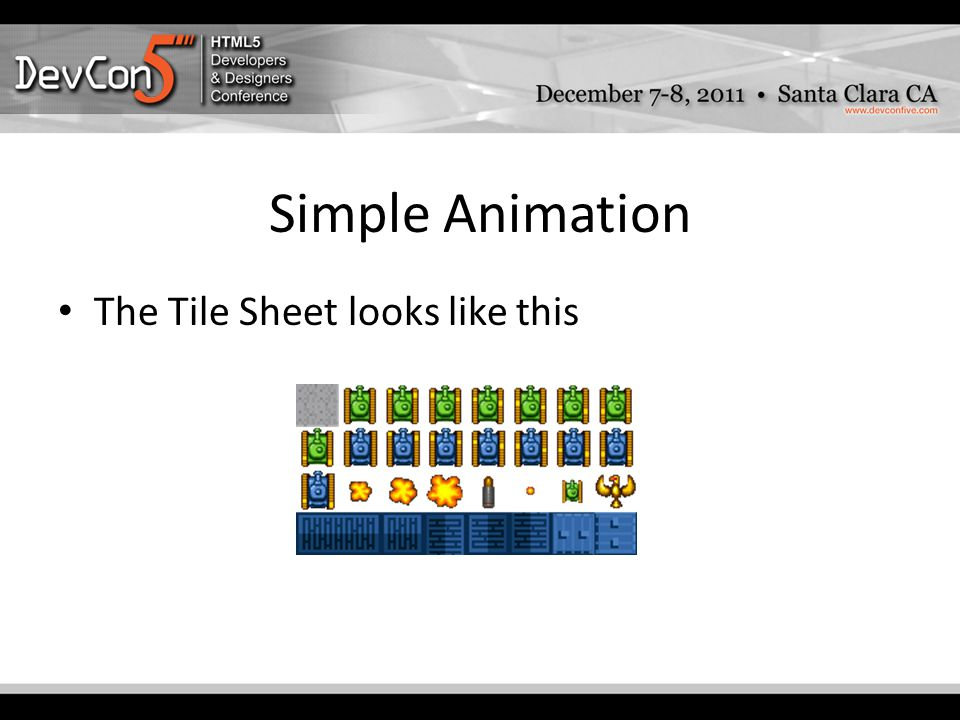 Simple Animation The Tile Sheet looks like this