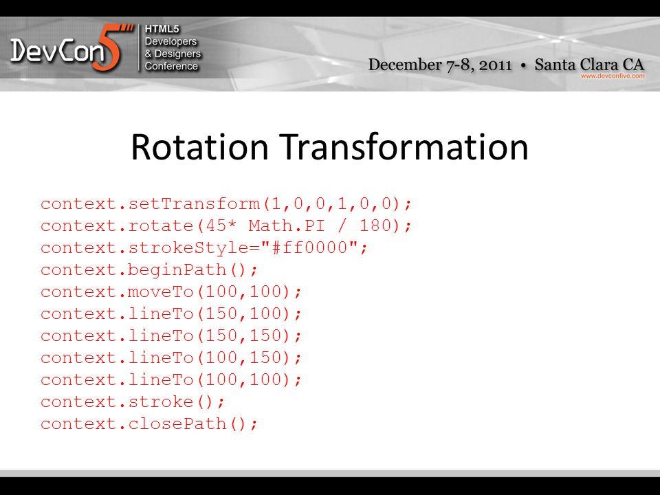 Rotation Transformation context.setTransform(1,0,0,1,0,0); context.rotate(45* Math.PI / 180); context.strokeStyle= #ff0000 ; context.beginPath(); context.moveTo(100,100); context.lineTo(150,100); context.lineTo(150,150); context.lineTo(100,150); context.lineTo(100,100); context.stroke(); context.closePath();