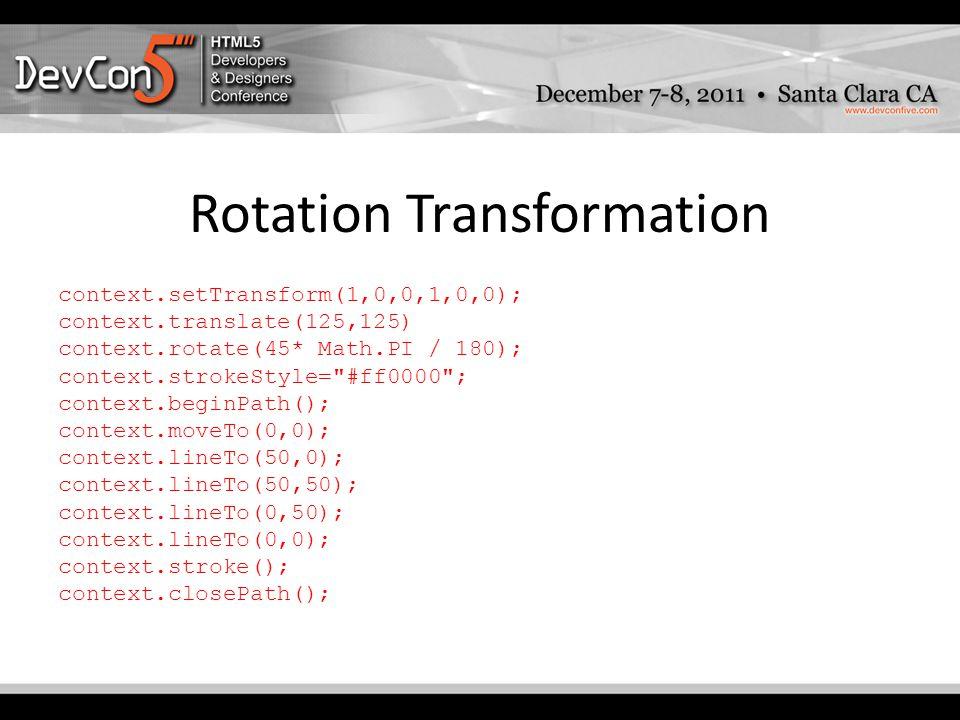 Rotation Transformation context.setTransform(1,0,0,1,0,0); context.translate(125,125) context.rotate(45* Math.PI / 180); context.strokeStyle= #ff0000 ; context.beginPath(); context.moveTo(0,0); context.lineTo(50,0); context.lineTo(50,50); context.lineTo(0,50); context.lineTo(0,0); context.stroke(); context.closePath();