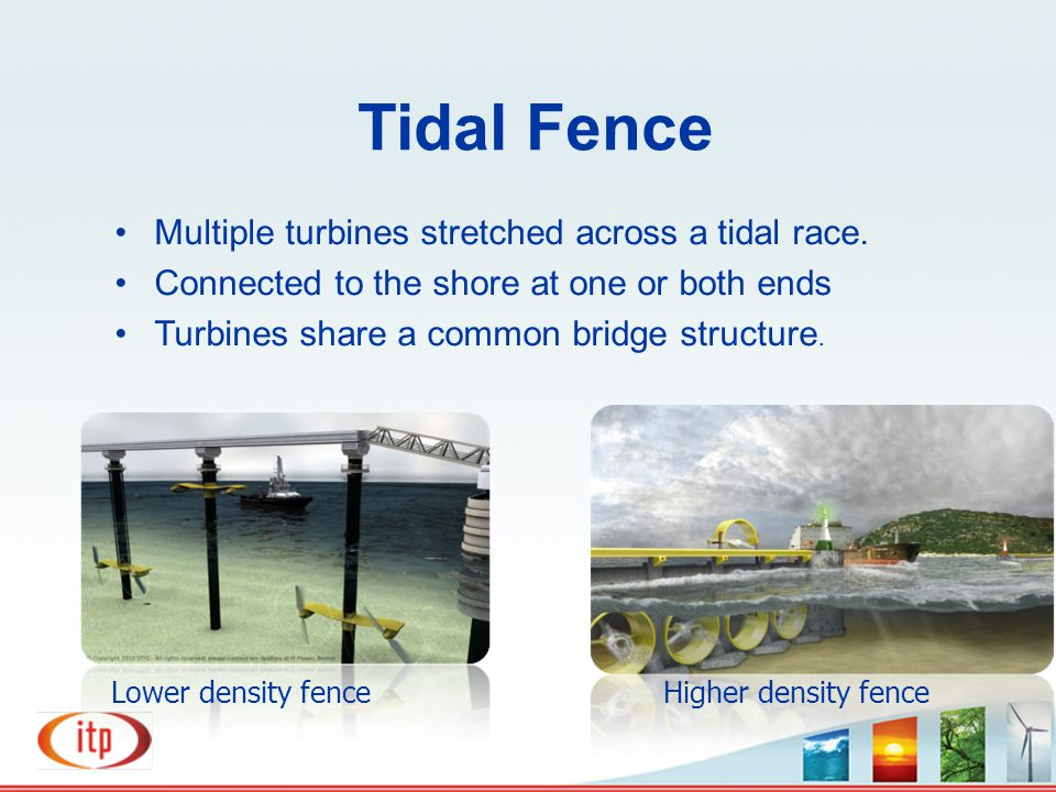 Tidal Fence Multiple turbines stretched across a tidal race. Connected to the shore at one or both ends Turbines share a common bridge structure. High