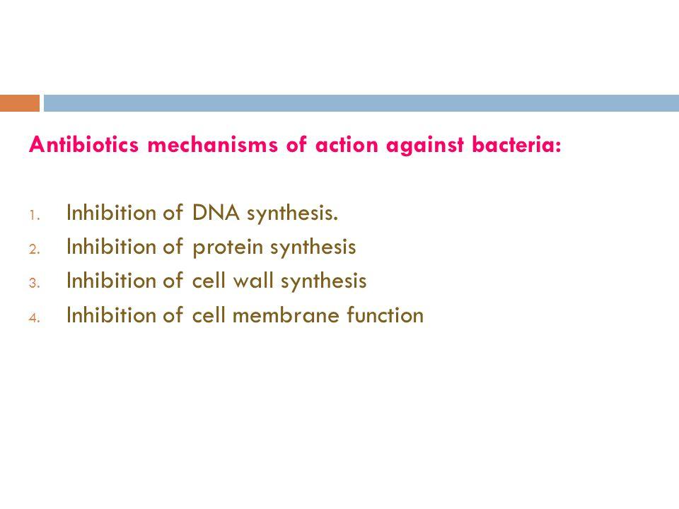 Antibiotics mechanisms of action against bacteria: 1.