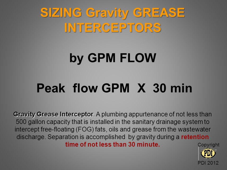 SIZING Gravity GREASE INTERCEPTORS by DFU'S Gravity Grease Interceptor Sizing DFUs Interceptor Volume Pipe size 8 500 gallons 21 (3) 750 gallons 36 1,000 gallons 3 pipe 90 (3) 1,250 gallons 180 1,500 gallons 4 pipe 216 2,000 gallons 307 (3) 2,500 gallons 390 3,000 gallons 5 pipe 428 4,000 gallons 576 5,000 gallons 700 7,500 gallons 6 pipe 2112 10,000 gallons 2640 15,000 gallons Copyright PDI 2012