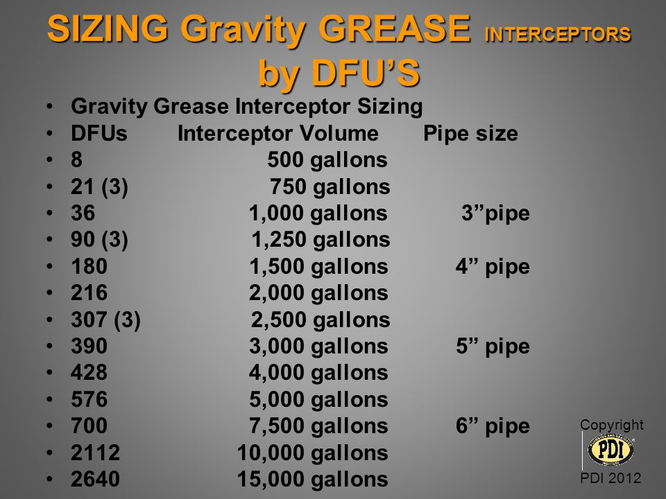 SIZING Gravity GREASE INTERCEPTORS by DFU'S Gravity Grease Interceptor Sizing DFUs Interceptor Volume Pipe size 8 500 gallons 21 (3) 750 gallons 36 1,