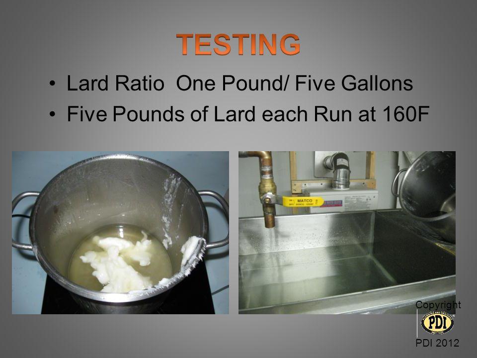Min. of 12 Runs per Test Total Lard min.60 Pounds per Test Copyright PDI 2012