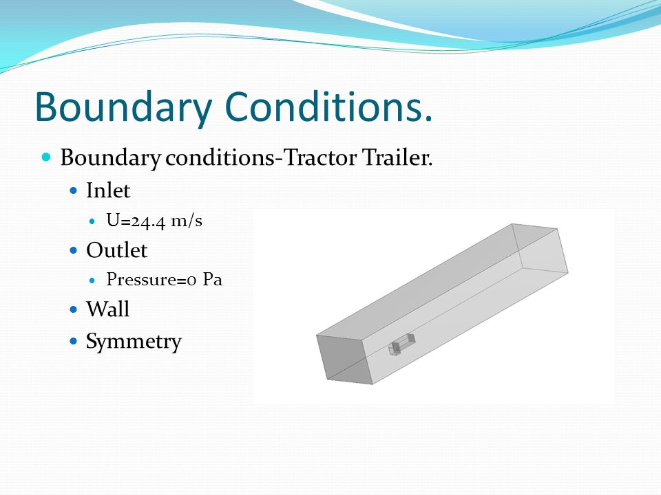 Boundary Conditions. Boundary conditions-Tractor Trailer. Inlet U=24.4 m/s Outlet Pressure=0 Pa Wall Symmetry
