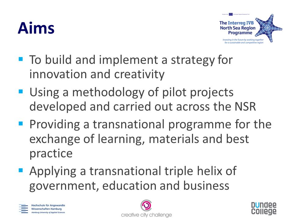 Objectives  Foster creativity  Promote transnational activity  Exchange learning, materials and best practice  Create an integrated, evidence-based strategy for cities to strengthen innovative capacity