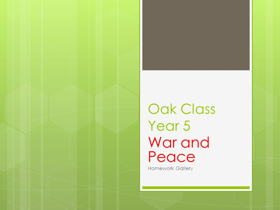 Oak Class Year 5 War and Peace Homework Gallery