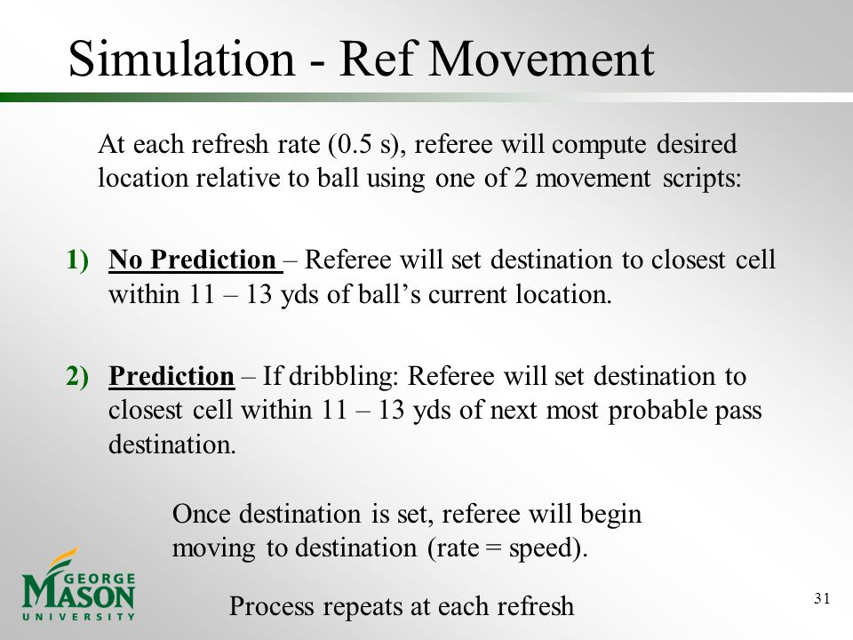 Simulation - Ref Movement At each refresh rate (0.5 s), referee will compute desired location relative to ball using one of 2 movement scripts: 1)No Prediction – Referee will set destination to closest cell within 11 – 13 yds of ball's current location.