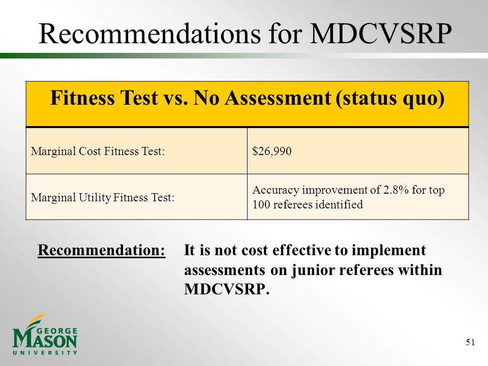 Recommendations for MDCVSRP Recommendation: It is not cost effective to implement assessments on junior referees within MDCVSRP.