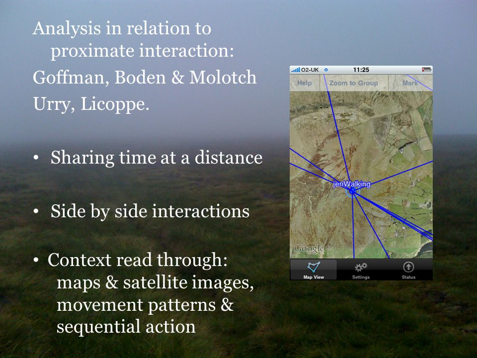 Analysis in relation to proximate interaction: Goffman, Boden & Molotch Urry, Licoppe.