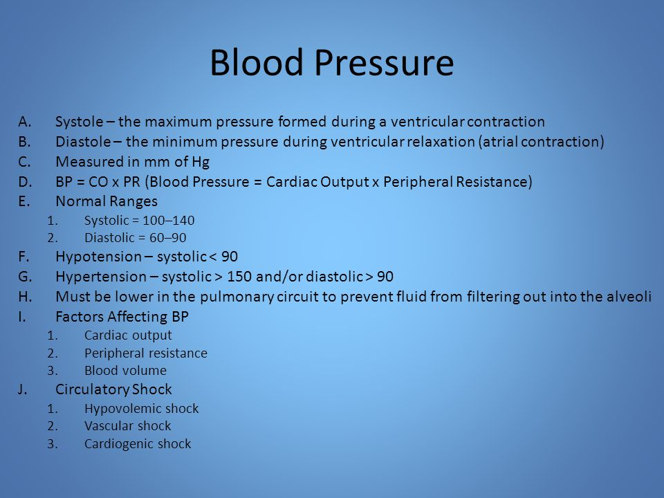 Blood Pressure A.Systole – the maximum pressure formed during a ventricular contraction B.Diastole – the minimum pressure during ventricular relaxation (atrial contraction) C.Measured in mm of Hg D.BP = CO x PR (Blood Pressure = Cardiac Output x Peripheral Resistance) E.Normal Ranges 1.Systolic = 100–140 2.Diastolic = 60–90 F.Hypotension – systolic < 90 G.Hypertension – systolic > 150 and/or diastolic > 90 H.Must be lower in the pulmonary circuit to prevent fluid from filtering out into the alveoli I.Factors Affecting BP 1.Cardiac output 2.Peripheral resistance 3.Blood volume J.Circulatory Shock 1.Hypovolemic shock 2.Vascular shock 3.Cardiogenic shock