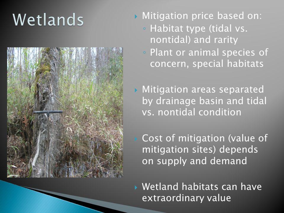  Mitigation price based on: ◦ Habitat type (tidal vs.