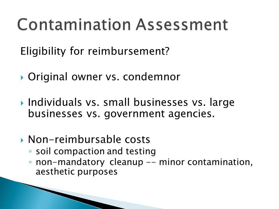 Eligibility for reimbursement. Original owner vs.