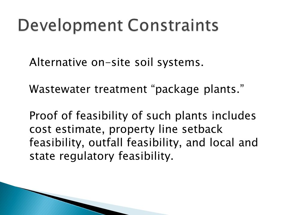 Alternative on-site soil systems.