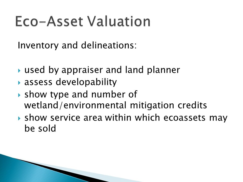 Inventory and delineations:  used by appraiser and land planner  assess developability  show type and number of wetland/environmental mitigation credits  show service area within which ecoassets may be sold