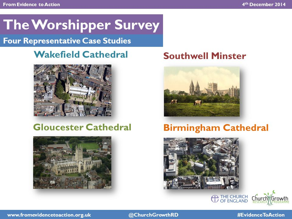 The Worshipper Survey Four Representative Case Studies Southwell Minster Wakefield Cathedral Gloucester Cathedral Birmingham Cathedral From Evidence t