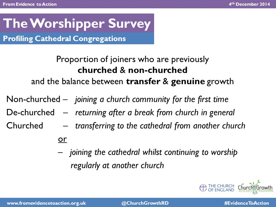 The Worshipper Survey Profiling Cathedral Congregations Proportion of joiners who are previously churched & non-churched and the balance between trans