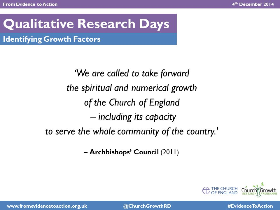 Qualitative Research Days Identifying Growth Factors 'We are called to take forward the spiritual and numerical growth of the Church of England – incl