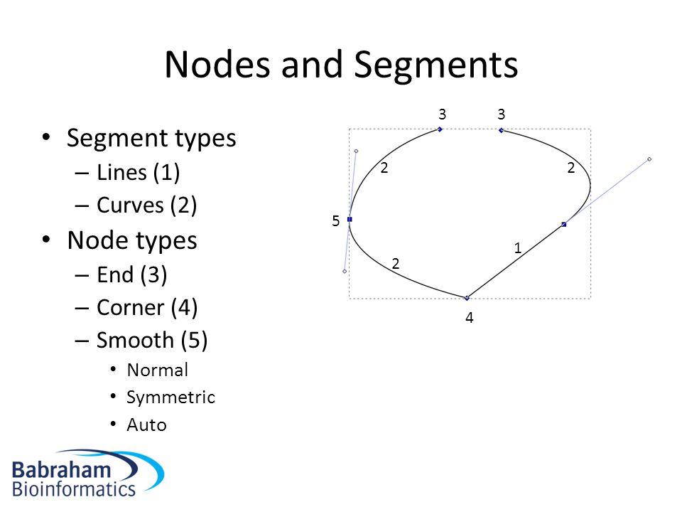 Nodes and Segments Segment types – Lines (1) – Curves (2) Node types – End (3) – Corner (4) – Smooth (5) Normal Symmetric Auto 1 22 2 33 4 5
