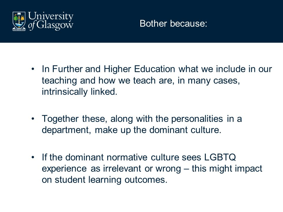 Bother because: In Further and Higher Education what we include in our teaching and how we teach are, in many cases, intrinsically linked. Together th